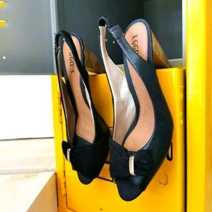 """🇧🇷 Open toe 9 black shoes with 2"""" heels"""